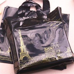 Wholesale High Density Bags - High-density Polythylene Eco-friendly Luxury Eiffel Tower Packaging 10pcs lot 29*35cm Large Plastic Gift Bags With Handles