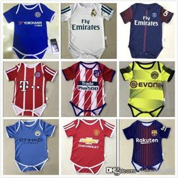 Wholesale fans clothing - New.2017 2018 Real Madrid Baby soccer Jersey Cotton Short Sleeved Jumpsuit Baby Triangle Climb Clothes Loveclily 2017 18 baby's fans s