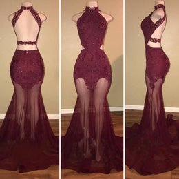 Wholesale Cheap Green Mermaid Skirt - 2018 New Gorgeous Burgundy High Neck Mermaid Prom Dresses Sexy See Through Sheer-Tulle Skirt Lace-Appliques Evening Dresses Backless Cheap