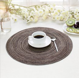 Wholesale yarn bowls - Round cotton yarn placemat western food pad woven plate pad household items non-slip anti-scalding bowl mat