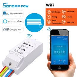Wholesale ccd video cameras - Sonoff Pow WiFi Switch smart remote control 16A Power Consumption Measurement wireless light switches for smart home with timer