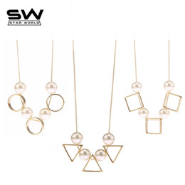 Wholesale Triangle Shaped Necklace - whole saleSTARWORLD Round square triangle shape gold silver black color Imitation pearls chain necklace for women simple style pendant