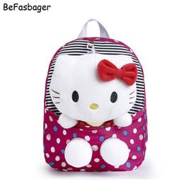 Wholesale Backpack For Dolls - Classic Dot Cute Hello Kitty Backpacks Gift for Children Plush Cartoon Kindergarten Kids Nylon School Bag with Detachable Doll