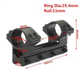 Wholesale 11mm dovetail rail - Tactical 25.4 mm One Piece Double Scope Rings Higher Mount Dovetail Ring 11mm Weaver Rail Pistol Airsoft Adapter