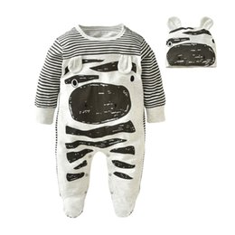 Wholesale Wholesale Long Sleeved Baby Rompers - 2017 New Fashion Infant clothing baby boy clothes zebra gray long-sleeved baby rompers+hat newborn clothing set