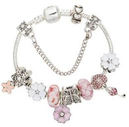 Wholesale large red glass beads - 18cm 19cm 20cm 21 cm Pandora's Cross-border Supply Source Pink Butterfly Pendant Bracelet Large Hole Glass Beads Bracelets