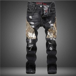 Wholesale Mens Casual Jeans Style - Wholesale embroidery Beadings new mens Luxury jeans straight ripped jeans fashion hip hop for men casual denim biker pants jeans