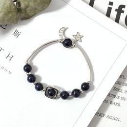 pietra blu di luna Sconti MTCHONG Charm Plated Star Moon Bracciale Classic Natural Stone Dark Blue Braccialetti di perline per le donne 303