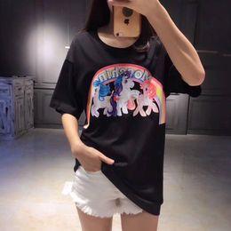 Wholesale Rainbow T Shirt Women - Rainbow X Little Pony SS18 Brand new Hip Hop men's t-shirt Floral Short Sleeve 100% Cotton poloshirt shirt men 3g Designer women shirts