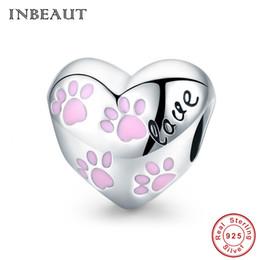 Abdrücke armband perlen online-Pandora Style Cute 925 Sterling Silber Rosa Weibliche Bär Abdrücke Carved Heart Beads passen s925 Charm Armband Tierförmigen Schmuck