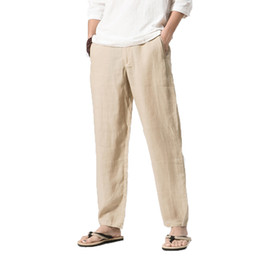 Wholesale Traditional Men Chinese Clothes - 2018 Linen Men Pants Men's Clothing Straight Man Pants Khaki Thin Homme Jogger Male Loose Trousers Chinese Traditional Harajuku