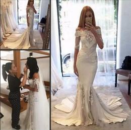 2019 vestidos de alta costura baratos Berta 2018 mangas largas árabe barato vestidos de boda Steven Khalil Nueva pallas couture colección de primavera exterior hombro vestidos de novia sirena vestidos de alta costura baratos baratos