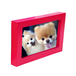Wholesale cute picture frames - Wedding Photo Frame Fashion Red DIY Wall Cute Paper Photo Wooden Personality Creative Frame For Pictures
