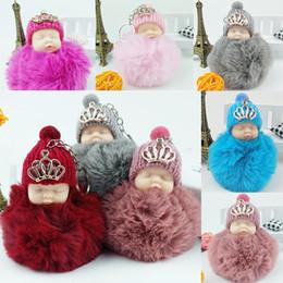 Wholesale Doll Holders - New Cute Sleeping Baby Doll Keychain Pompom Rabbit Fur Ball Key Chain Car Keyring Women Key Holder Bag Pendant Novelty Items WX9-368