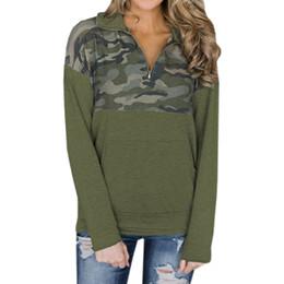 2019 bolsillos otoño invierno jerseys mujeres sexy camuflaje verde del ejército de manga larga con capucha cremallera superior sudaderas más el tamaño GV405 desde fabricantes