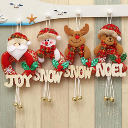 Wholesale Wholesale Small Black Dolls - Christmas Tree Small Pendant Letter Snow Wooden Oldman Snowman Deer Bear Santa Christmas Tree Ornaments Doll Creative Door 5