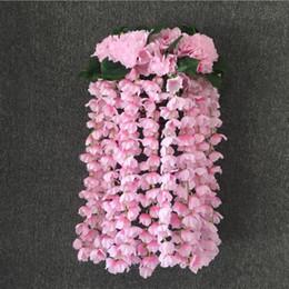 Piante artificiali di ortensia online-Artificiale ortensia appeso a parete in rattan di seta bouquet ramo festa nuziale balcone simulazione fiore pianta decorazione della parete