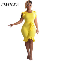 OMILKA 2018 Summer Women Sleeveless O Neck Ruffle Knee Length Rompers and  Jumpsuits Sexy Club Party Bodycon Bandage Playsuits discount white bandage  ... 0c254e8b3