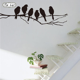 Wholesale Wall Stickers Trees Branches - 1 pcs Removable Black Birds Tree Branch PVC Stickers Mural Art Decal Home Room Decoration Wall Stickers