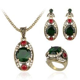 Wholesale Silver Emerald Pendants - Jewelry Sets Wholesales - Chocker Ring Chandelier Sets Vintage Emerald Crystal Golden Plated Necklaces Pendants Resin Dangle Earrings