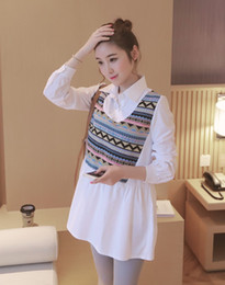 Wholesale women dres - Maternity Blouses for Pregnant Women False Two Pieces Long-sleeved Pregnancy Tops Clothes Plus Size Solid Maternity Dres Shirt