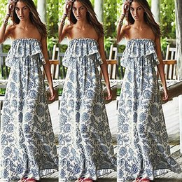 party dressing for women Promo Codes - Wholesale-2018 Very popular new Sexy Women Party Floral Beach Dress Boho Off shoulder Maxi Long Dress for beautiful girl and women