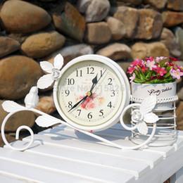 Wholesale Black White Table Decorations - Rural Style Metal Bird Clock Home Decoration Handwork Garden Table Clock With Pen Pot Black White Colour