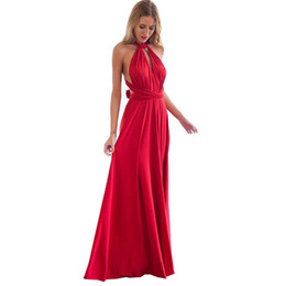 Wholesale Sexy Empire Bridesmaid Dresses - Sexy Women Boho Maxi Club Dress Red Bandage Long Dress Party Multiway Bridesmaids Convertible Infinity Robe Longue Femme 2018