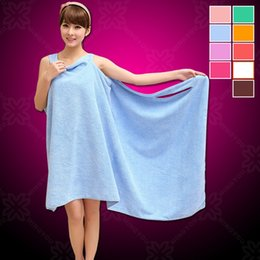 Wholesale body wrap towels wholesale - Magic Bath Towels Lady Girls SPA Shower Towel Body Wrap Bath Robe Bathrobe Beach Dress Wearable Magic Towel 9 Color