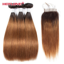 Wholesale straight lace closure dark brown - Brazilian Virgin Ombre Hair Straight 3 Bundle with Lace Closure 4*4 Two Tone Color T1b 30 Dark Roots Brown Ombre Straight 4Pcs Lot