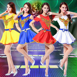 Wholesale Chinese Folk Dancing Costumes - Chinese style Folk Dance costumes Dancing Teams Jazz performance Dress Festival Party cheer leading dress stage show one piece stage wear