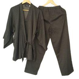 Venta de kimonos online-Algodón Yukata Kimono japonés Hombres Pijamas Ropa de dormir Para hombre Algodón Kimono Bata y pantalones M L Tamaño Venta caliente