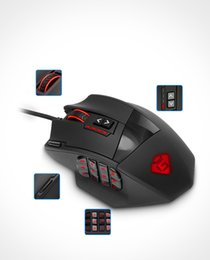 Wholesale Compatible Laser - Rocketek game series from 50 to 16400 Dots per inch High precision laser MMO Gaming Mouse for PC, 19 pcs. Buttons [Compatible with Window Fr