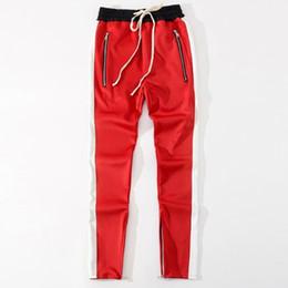 Wholesale 2018 New bottoms pantalones con cremallera lateral hip hop Ropa urbana de moda justin bieber FOG Unir juntos pantalones basculantes Negro rojo azul