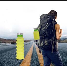 Portable de silicona retractable plegable botella de agua de viaje al aire libre telescópica plegable botella de plástico con tapa envío de la gota desde fabricantes