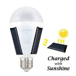 Wholesale wholesale portable ac - 7W 12W E27 LED Bulb Solar Lights Rechargeable Solar Energy lamp AC 85-265V Outdoor Camping Travel Portable Emergency Tent lantern