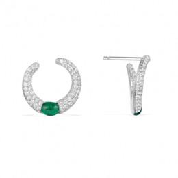 Серьги в форме кольца с изумрудом, ручной инкрустацией алмазов, известный бренд высокого класса Моды стерлингового серебра с бриллиантами от