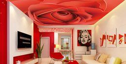 Wholesale Red Vinyl Wallpaper - custom photo murals Vector atmosphere red rose zenith fresco 3d ceiling Murals wallpaper