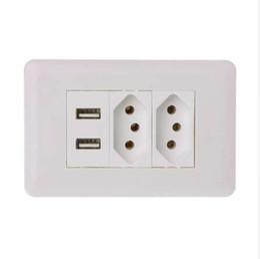 Presa di corrente standard online-15A Wall? Double Standard Power Socket Adapter Dual Ports Pannello di ricarica USB 5V 2.1A 'lirunzu