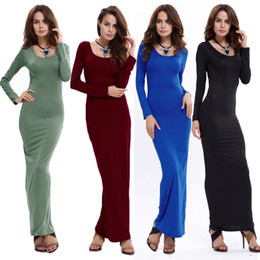 Wholesale Plus Size Stretch Pencil Dress - Long Sleeve Bodycon Maxi Dress Soft Stretch Long Sexy Round Collar Bandage Dresses Plus Size Women Robe Femme