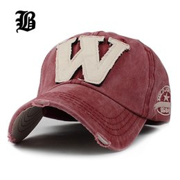 Wholesale Worn Baseball Cap - [Flb ]Cotton Embroidery Letter W Baseball Cap Snapback Caps Bone Casquette Hat Distressed Wearing Fitted Hat For Men Custom Hats