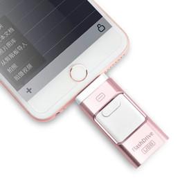Palo de ordenador portátil usb online-Unidad de memoria USB USB de 32 GB para iPhone, Memory Stick de iOS, expansión de almacenamiento externo de iPad para iOS Ordenadores portátiles con Android Computadora portátil 3 en 1 Disco U en U