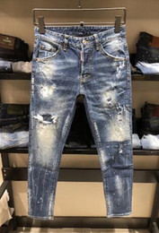 Wholesale army print jeans - In the spring of 2018 in Europe and the new embroidery personality of men's jeans #9938