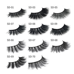 Wholesale long black hair extensions - 11 styles Selling 1pair lot 100% Real Siberian 3D Strip False Eyelash Long Individual Eyelashes Mink Lashes Extension