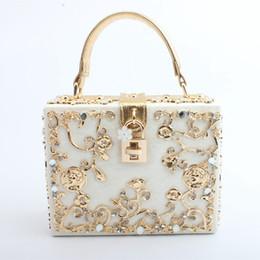 ouro dourado da bolsa Desconto 2018 Mulheres Moda Rendas De Luxo Beading Diamantes Austríacos Saco de Noite Do Partido Embreagens Jantar Sacos Senhoras Femininas Ombro Saco Do Mensageiro