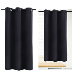 Wholesale Grommet Blackout Curtains - WINOMO Blackout Curtain Room Darkening Thermal Insulated Grommet Drape for Living Room Bedroom 42 x 67 Inch (Black)