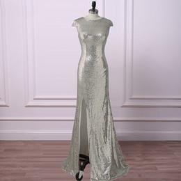 Vestidos de dama de lentejuelas con lentejuelas manga larga Cap manga sirena diseño simple dividir vestidos de fiesta de noche frontal desde fabricantes
