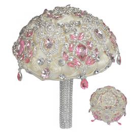 Bouquet da sposa di lusso Raso Rose Bling Perline Diamante Avorio Bouquet da sposa Sposa Fiore Spilla da sposa W699F da