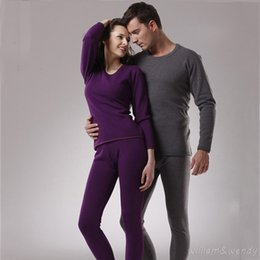 Wholesale Sexy Intimate Men - Men And Women Thermal Underwear Winter Warm Long John Large Size Plus Soft Velvet Lined Clothing Round Collar Intimate Sets XXXL