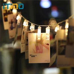 Navidad lámpara batería cálido blanco online-ITimo Battery Garland Año Nuevo Decoración de la boda de Navidad Warm White 3M Novedad Fairy Lamp LED Tarjeta Photo Clip String Lights